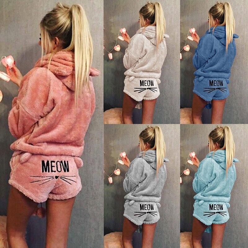 Mujeres Coral terciopelo Traje dos piezas Otoño Invierno pijamas calientes Cute Cat Meow patrón Hoodies Shorts Set 2018 nuevo