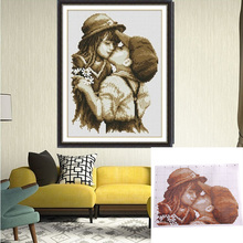 Cartoon Character First Kiss Pattern Handicraft Cross Stitch Home Decoration