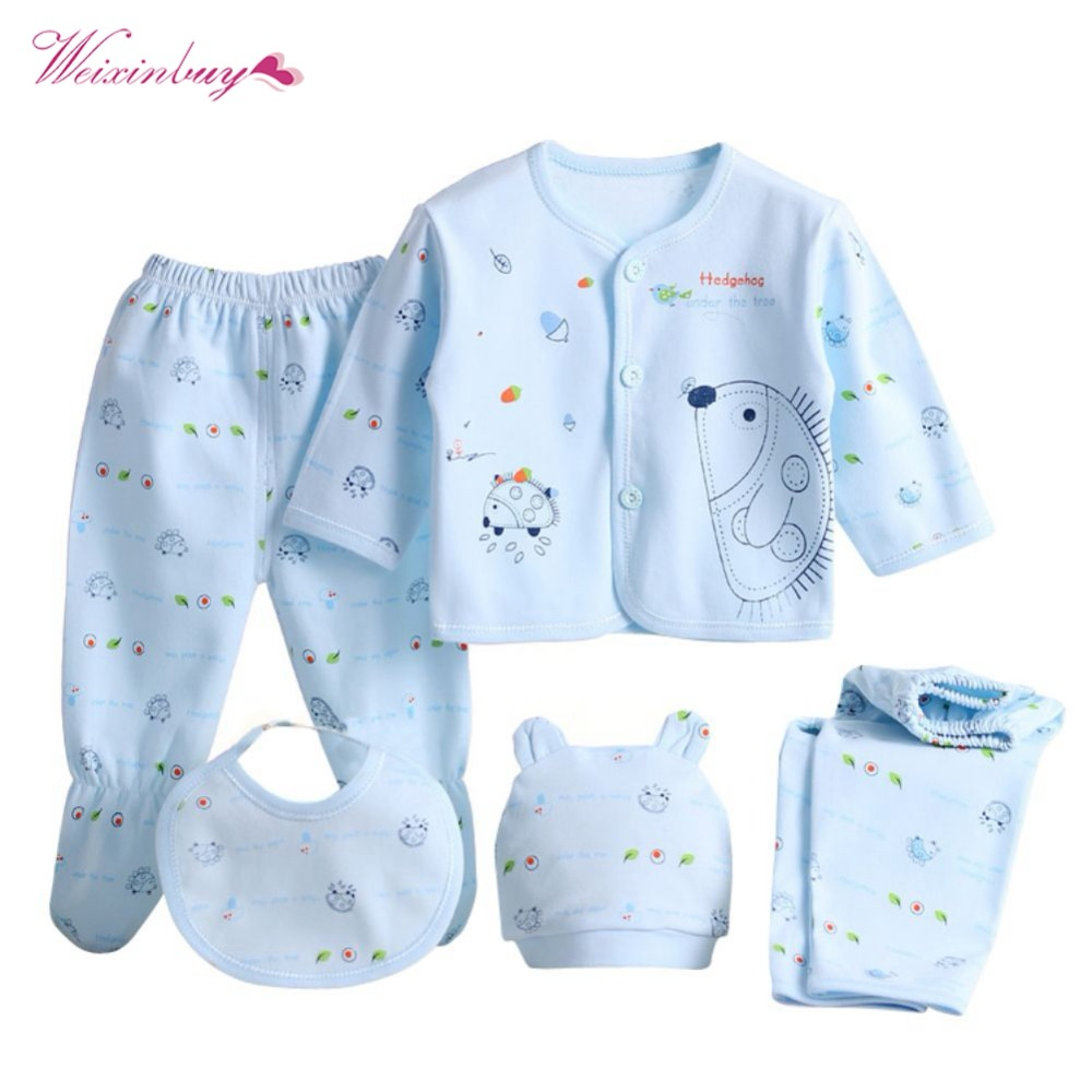 WEIXINBUY 5 Pieces/set Newborn Baby Clothing Set Brand Baby Boy/Girl Clothes 100% Cotton 3 Colors Cartoon Underwear 0-3M