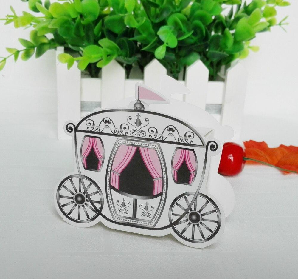 100pcs/lot Paper Cinderella Carriage Pumpkin Candy Box Wedding Party ...