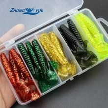 25 pcs 9cm 5 colors soft bait Set sea fishing tackle wobbler jigging fishing lure silicone bait soft worm shrimp and Tackle Box
