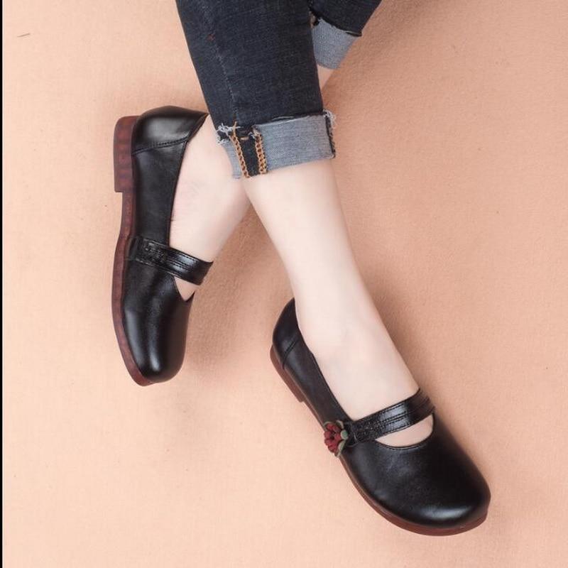 À Main Enceintes Rond Chaussures Femmes pu 2018 Fond Noir En Mary Véritable Automne Cuir Plates Rétro Ciel Appartements Bout La Mou Mère jaune Jane wfSqxzqP