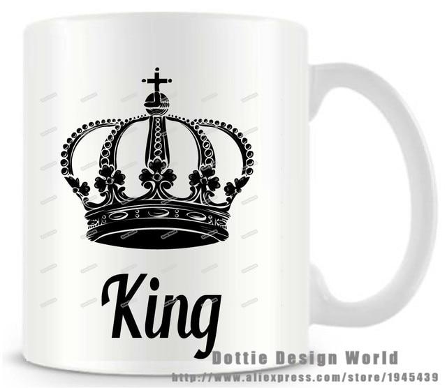 King Queen Crown Funny Novelty Travel Mug 11oz Ceramic White Coffee Milk Tea Cup