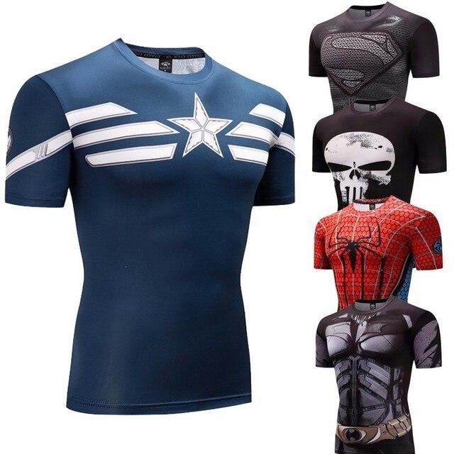 bced4a6121 Capitão américa Camisa De Compressão de Fitness Musculação Homens Anime  Rashgarda rashguard MMA Crossfit 3D Superman