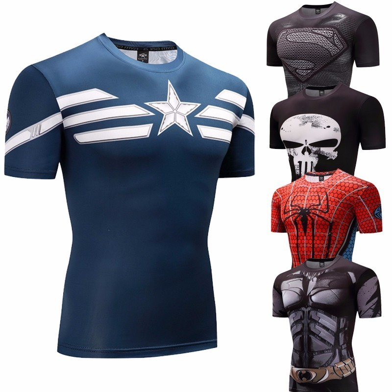 captain america Fitness Bodybuilding Compression   Shirt   Men Anime Rashgarda rashguard MMA Crossfit 3D Superman Punisher   T     Shirt