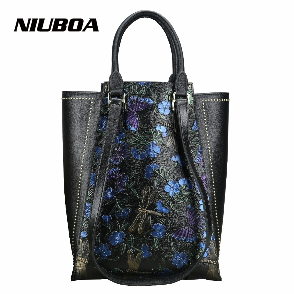 NIUBOA Genuine Leather Fashion Women Handbags Bucket Tote Crossbody Bags Embossing Flowers Cowhide Lady Messenger Shoulder Bags fashion leather handbags luxury head layer cowhide leather handbags women shoulder messenger bags bucket bag lady new style
