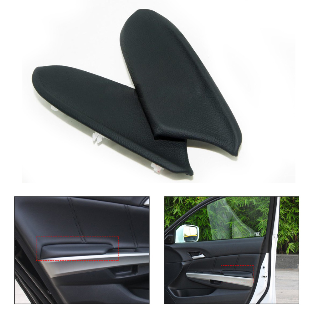 CITALL 1pair New Black Front Door Panels Armrest Skin Covers Leather for 2008 2009 2010 2011 2012 Honda Accord DIY