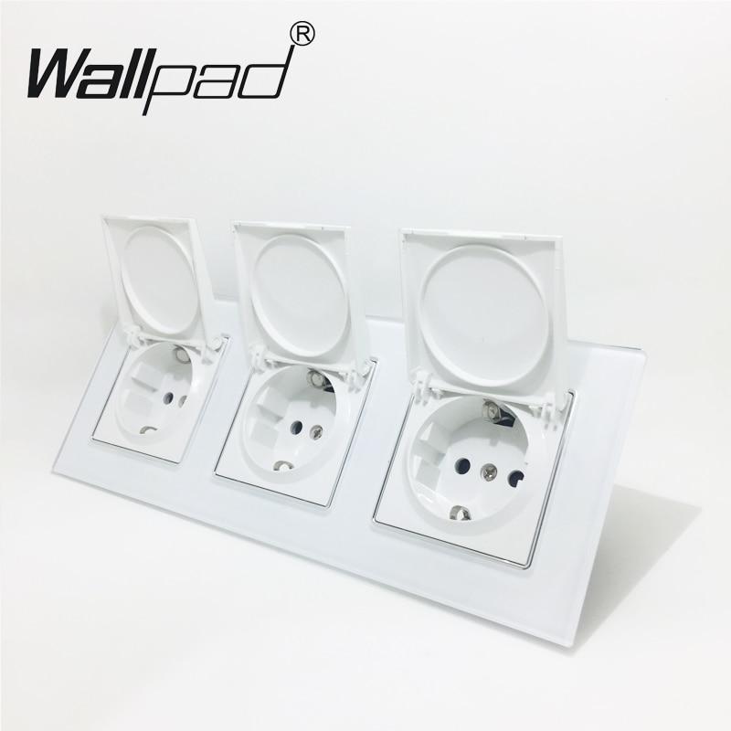 цена на EU Socket has Dust Cap CE Wallpad Luxury Crystal Glass EU Socket Triple Frame 16A Plug EU Wall Socket with Cap Claws Mount