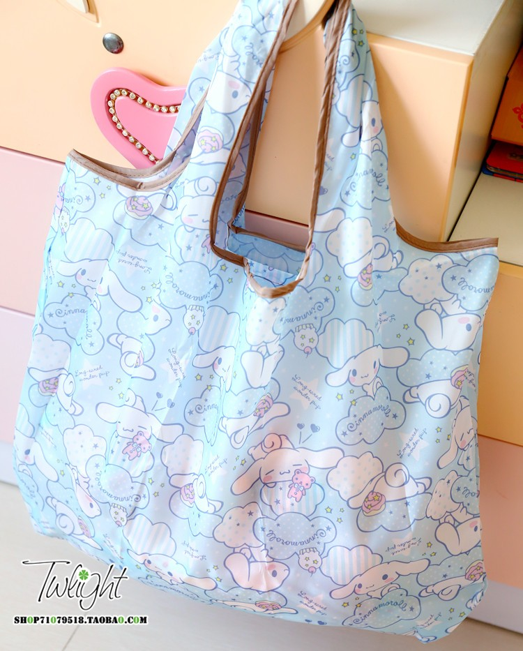 Cartoon Melody Cinnamoroll Pudding Dog Oxford Fabric Shoulder Bag Portable Eco-Friendly Grocery Bags Reusable Tote For Ladies