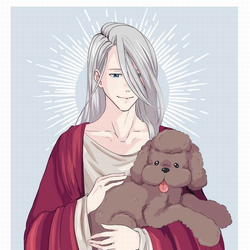 Oct. Home Textile Yuri On Ice Anime Victor & Makkachin Polyester Square Pillow Case One-sided Two-sided Hot Sale New #41415