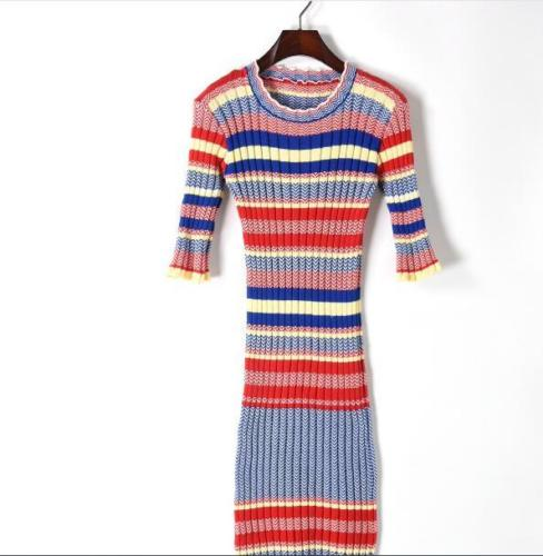 Womens Fashion Crew Neck Vintage Hippie Rainbow Colors Stripe Slim Fit Sweater Dress