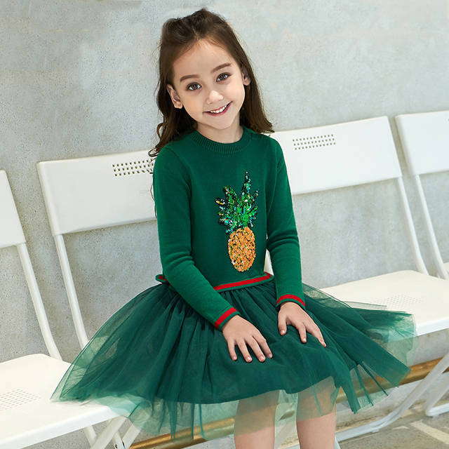 681ae5cddeed 2017 Shcool Girls Cute Pineapple Dress Cartoon Pine Apple Sequin Applique  Design Sassy Children for Age 5678910 11 12 Years Old