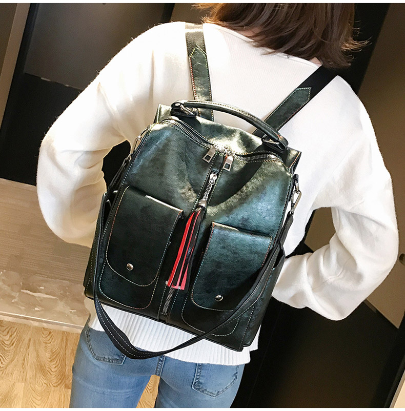 Retro Leather Women Backpack Zipper School Backpacks For Teenage Girls Bag Large Capacity Multifunction Mochila Feminina XA227H