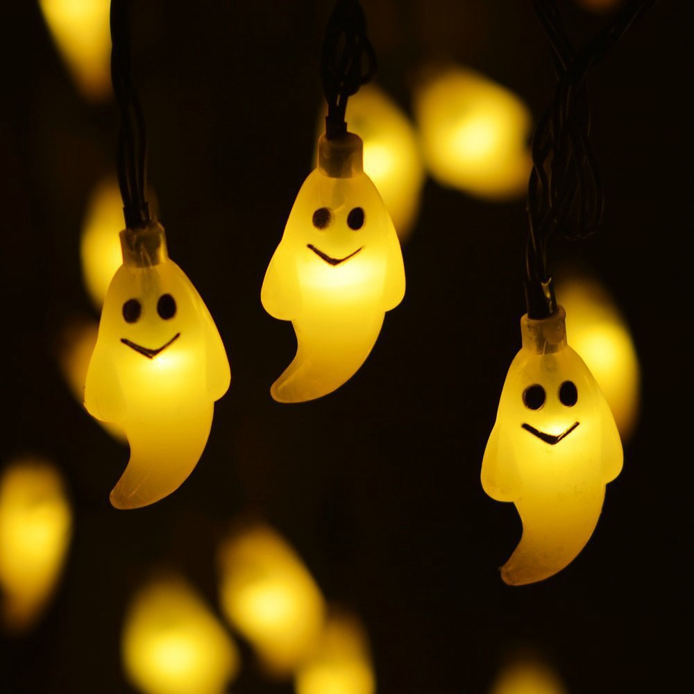 halloween decoration lights 30led ghost solar string light solar outdoor string lights for garden patio yard