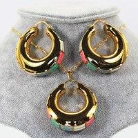 Dubaj Big Złota Obręcz Kolczyki Zestaw Biżuterii Charms Wisiorek Łańcuch Naszyjnik Kolczyki Zestaw Moda Biżuteria Ustaw dla Kobiet ST047
