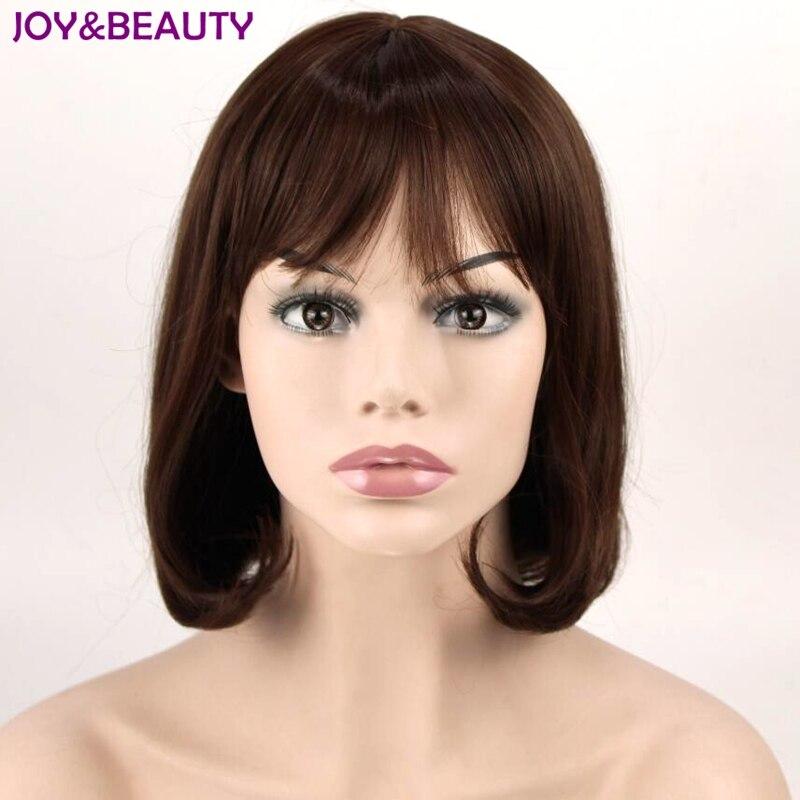 Радость и красоты темно-коричневый Синтетические волосы тонкие Bang короткие волнистые высокой Температура Волокно для волос 12 дюймов длино...