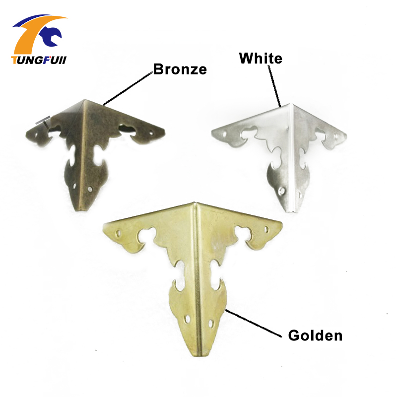 50pcs 30mm Tauren wrap angle iron antique wooden luggage bag corners lace wrap angle wooden four corners protection metal lhx p0fh08 1 40 4mmhardware 4pcs 4 color antique angle packaging bag crashproof packer corner gift trumpet flower wrap angle