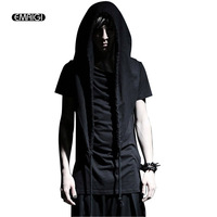 Men New Summer Punk Style Short Sleeve Hooded T Shirts Casual Slim Hoody Tshirts for Male Fashion Tees Shirt Asian Size M XL