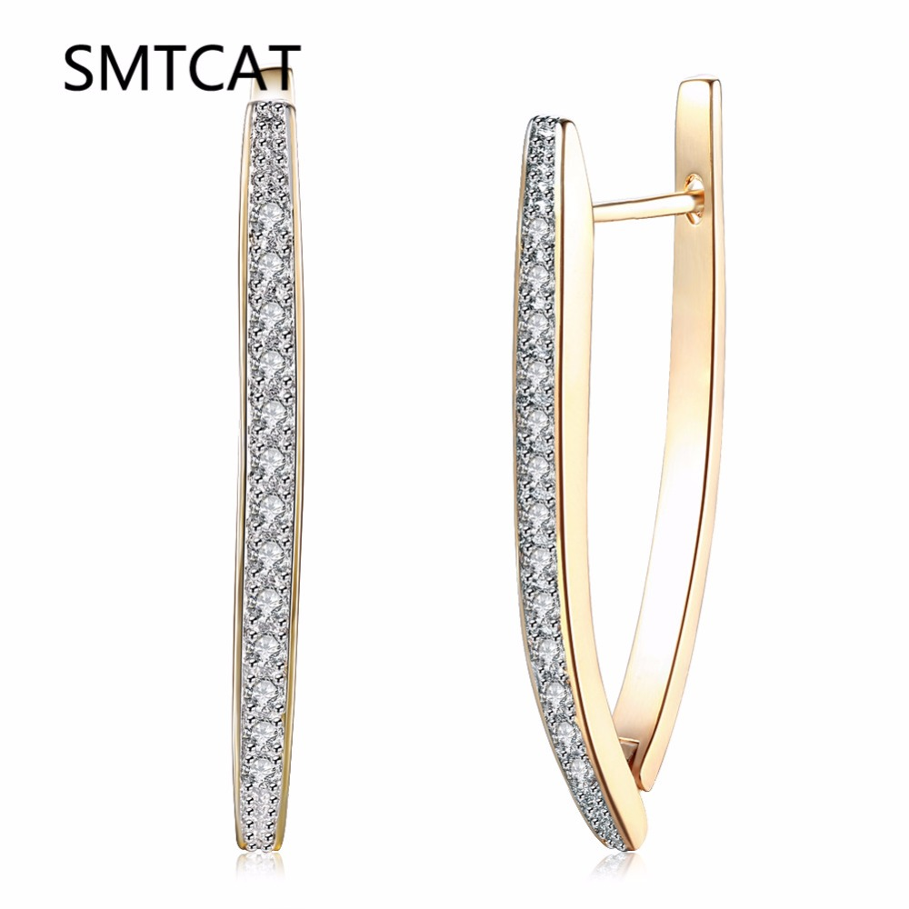 2018 Gold Color Horseshoe Hoop Earring Paved Luxury Aaa Cubic Zirconia Fashion Women U Shape Loop Cz Creole Earrings Brincos