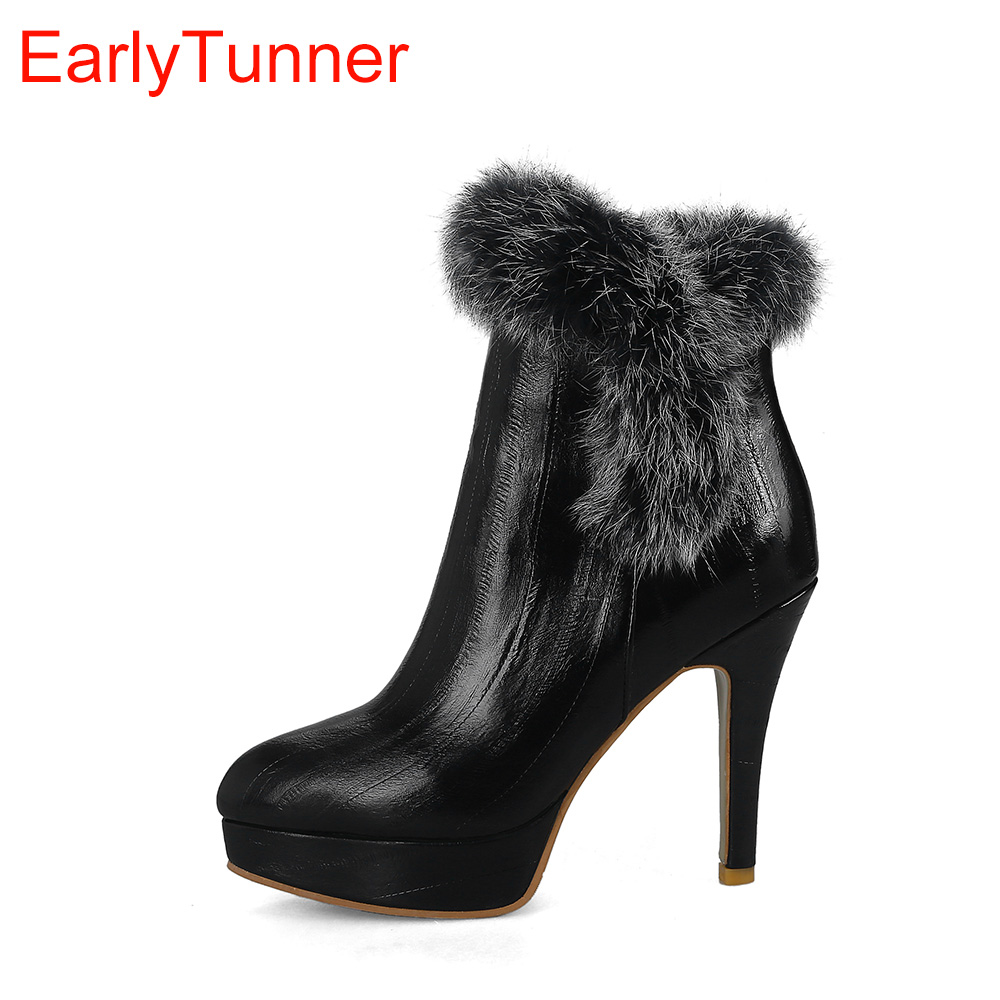 Brand New Sale Sexy Black Red Women Ankle Platform Dress Boots High Heel Sweet Lady Furry shoes EW16 Plus Big Size 10 32 43 46 brand new hot sales women nude ankle boots red black buckle ladies riding spike shoes high heels emb08 plus big size 32 45 11