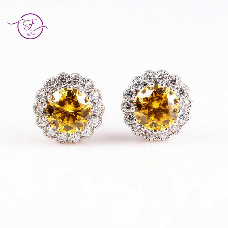 Sterling Silver 925 Stud Earrings for Women Fine Jewelry Citrine Fireworks Cut Yellow Green Red Wedding Engagement Party Gift