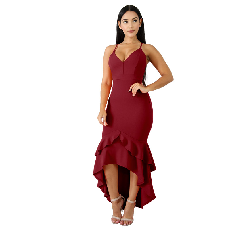 81a44153735 Birthday Dress for Women Stretch Bodycon High Waist Sexy V Neck Spaghetti  Strap Mermaid Trumpet Ankle Length Evening Party Dress-in Dresses from  Women s ...