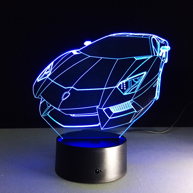 3d Illusion Night Light Sports Racing Car Table Lamp Rechargeable Led Light  Rgb Color Touch Acrylic