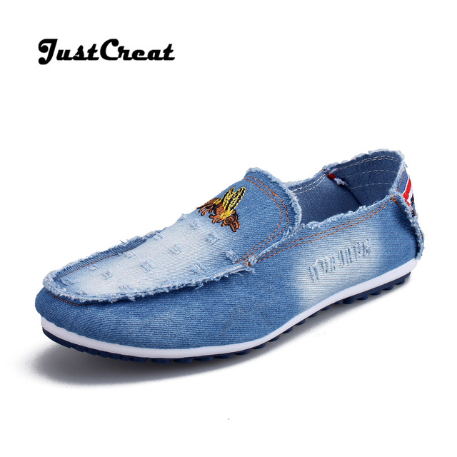 47026a72e23 MEN CASUAL SHOES Wear-resisting Denim Rubber Soles Loafer Flat Shoes Man  Blue Breathable Canvas Fashion Shoes Men For Youth