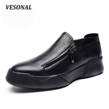 VESONAL New Summer Side Zip Platform Designer 100% Luxury Genuine Leather Loafers Men Shoes Fashion Mens Shoes Casual SD6001