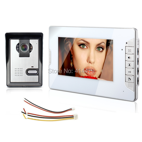 Home 7 inch LCD Color Video doorphone Intercom System Weatherproof Night Vision Bell Security Camera ac100v 240v 7 inch screen 16 9 hd villa button wired video doorphone infrared night vision home security doorbell system