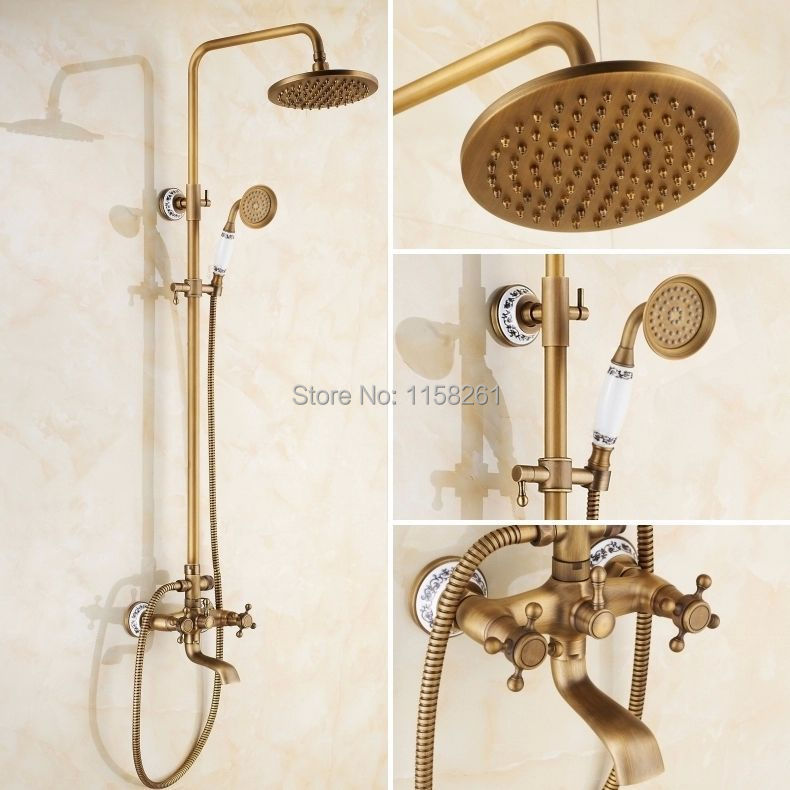 Shower Faucets Antique Brass Finish Bathroom Rainfall With Spray Shower Durable Brass Construction Faucet Set Free shipping 9135