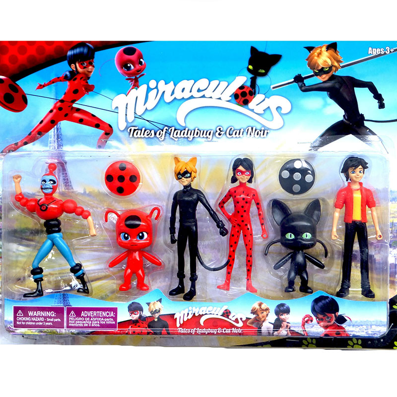 6pcs/set Miraculous Ladybug Adrien Noir Agreste Cat Action Figure Toys PVC Anime Girl Doll Toys For Children Christmas Gifts
