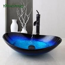 YANKSMART US ванная комната круглый синий закаленное стекло Овальный умывальник W/ORB Матовый кран комбинированная Раковина Набор+ черный всплывающий слив раковины