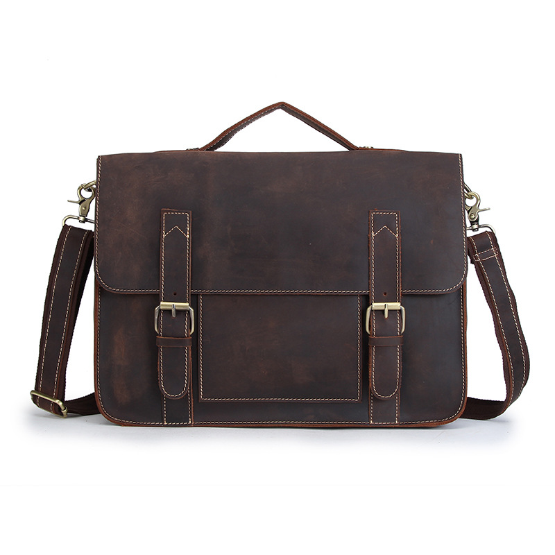 YISHEN 14 Inch Laptop Bag Genuine Leather Men Briefcase Retro Men Shoulder Messenger Bags Business Men Handbag Bolsas MSXY1021