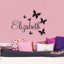 Hot Sale Cuatom Personalized Any Name With Butterflies Wall Sticker Girls Bedroom Art Decorative Wal Decal Vinyl WalllpaperY-591