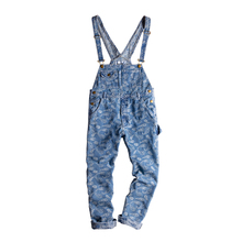 2019 European and American streets Hip Hop Washed Light blue Cashew Flower Embroidery Loose HIP-HOP Bib Men and Women jeans