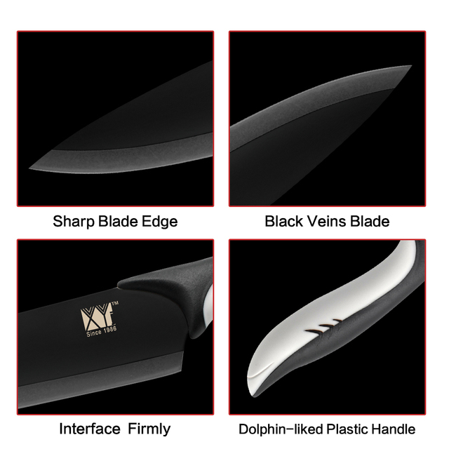 Cooking Knife Set  Black Blade Paring Utility Santoku Chef Slicing Bread Kitchen Accessories Tools