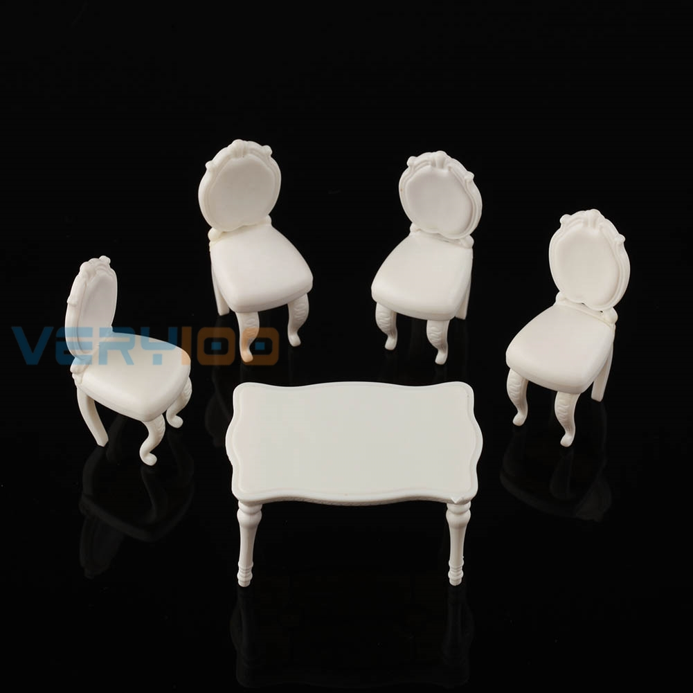 5pcs 1 20 Scenery Inner Model Dining Room Set Table With 4 Chairs White