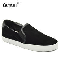 CANGMA Italy Designer Women Shoes Black Cow Suede Female Footwear Autumn Genuine Leather Flats Leisure Ladies
