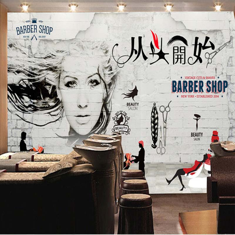 3D photo wallpaper 3D personalized fashion beauty salon mural retro brick wallpaper barber shop background wallpaper
