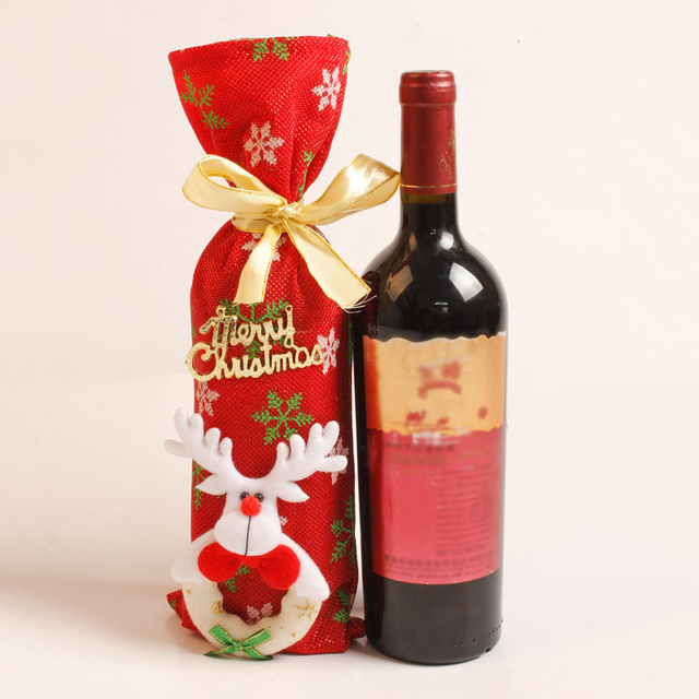 misaya 1pc red greeting letters christmas wine bottle cover decoration cloth merry christmas decorations for home