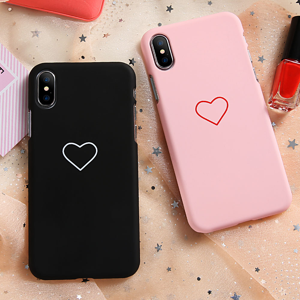 Phone Case For iPhone 6 6S 7 8 Plus X Case Cute Heart Pattern Slim Girl Black Pink Cover For