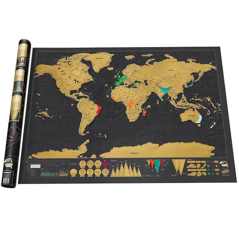 1 pz Deluxe Cancellare Nero Mappa Del Mondo Scratch off Mappa Personalizzata Scratch per la Mappa Del Mondo Room Della Decorazione Della Casa Della Parete adesivi