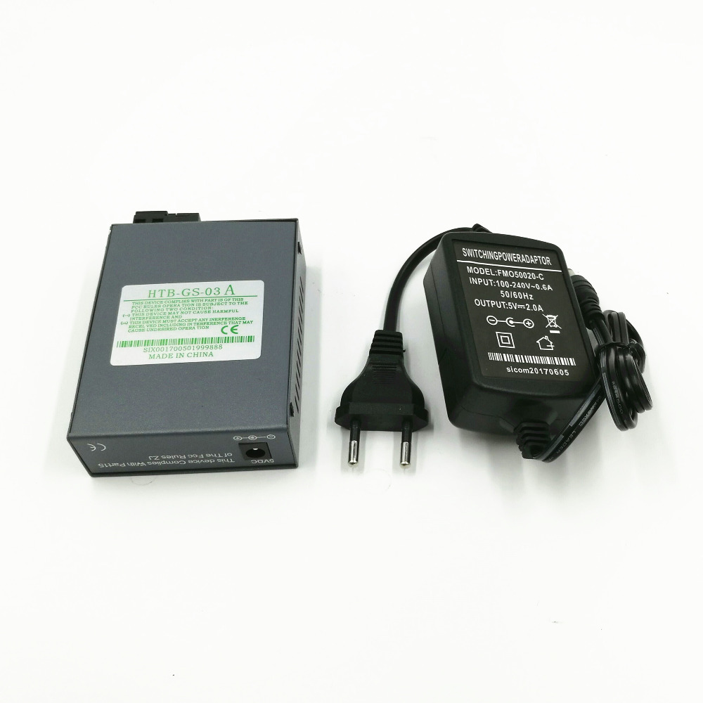 1 PCS HTB-<font><b>GS</b></font>-03-A Gigabit Fiber Optical Media Converter 1000Mbps Single Mode Duplex SC Port 20KM External <font><b>Power</b></font> <font><b>Supply</b></font> image