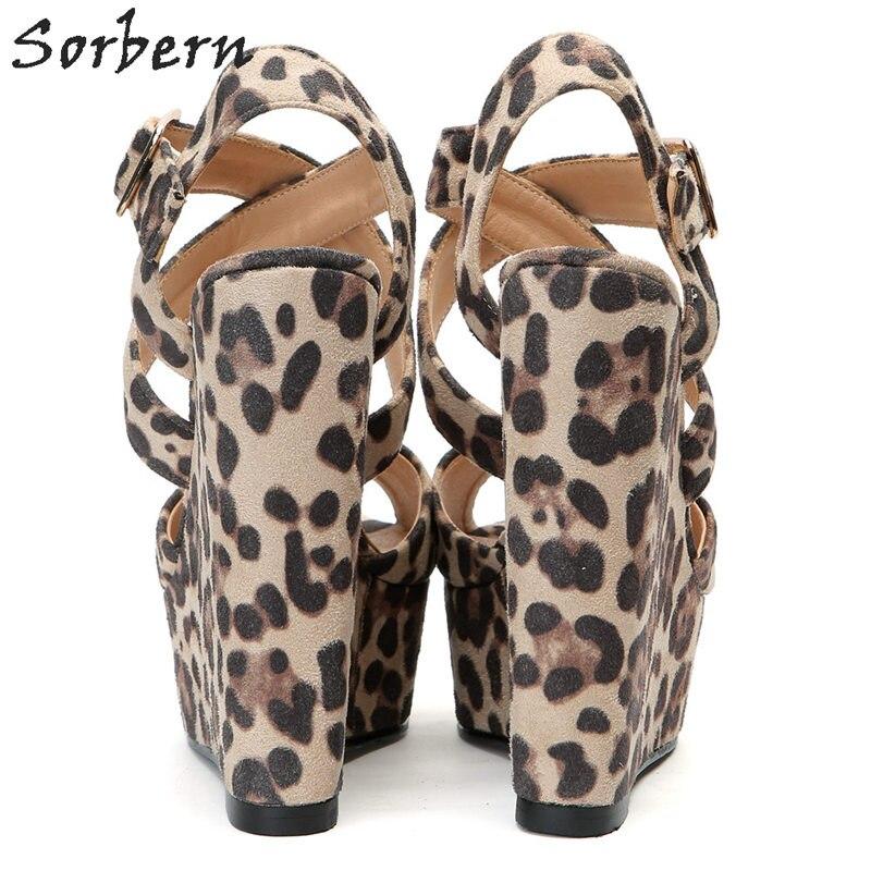 Sorbern с леопардовым принтом Повседневная обувь на танкетке; босоножки на высоком каблуке Для женщин открытым открытый носок, поперечные реме... - 3