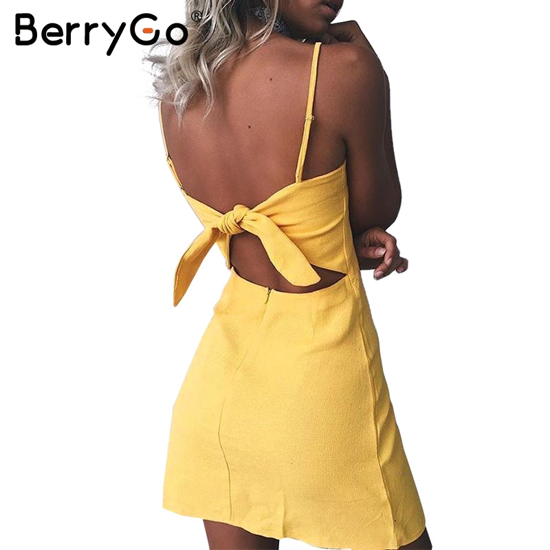 BerryGo Bow casual linen sexy dress Backless 2017 beach summer dress women sundress Slim fit bodycon white short dress vestidos