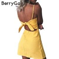 BerryGo Bow Casual Linen Sexy Dress Backless 2017 Beach Summer Dress Women Sundress Slim Fit Bodycon