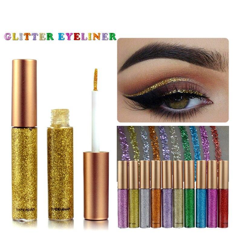 2017 New 10 Colors Glitter Eyeliner Women Beauty Makeup Waterproof Liquid Eyeliner Gold Sliver Eye Liner Pigment Cosmetics