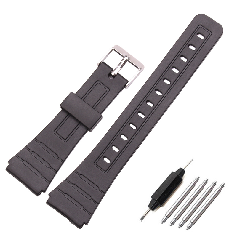лучшая цена 16mm 18mm 20mm Silicone Watch Strap Band Women Men Black Sport Diving Rubber Watchbands Buckle For Casio Watch Accessories