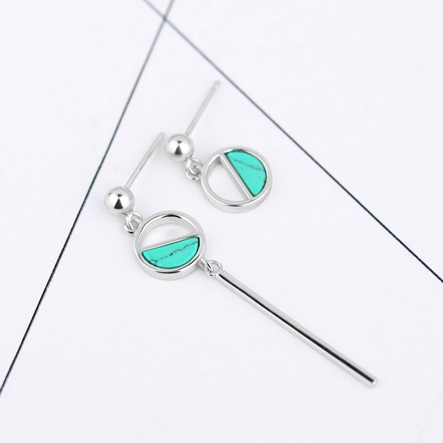 925 Sterling Silver Asymmetric Turquoise Stud Earrings Personalized Fashion Simple Design Three Color 2018 For